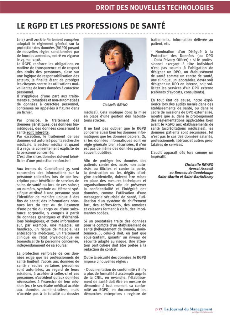 Cet article, paru dans une revue nationale, apporte un éclairage sur la mise en conformité des professions de santé.